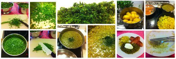 Grüne Fisolen auf wienerisch mit Erdäpfelschmarrn und Auxburger