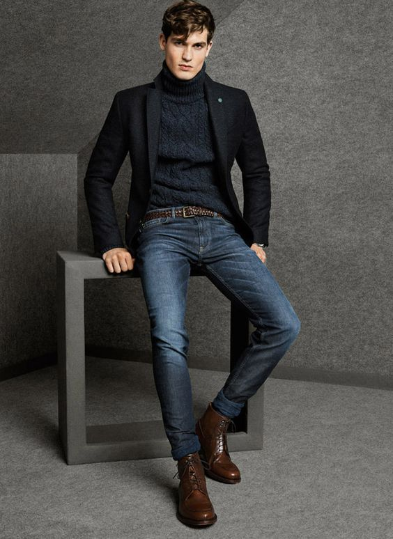 Classic Black Blazer and Turtleneck with Fitted Jeans. Men's Fall Winter Fashion.: