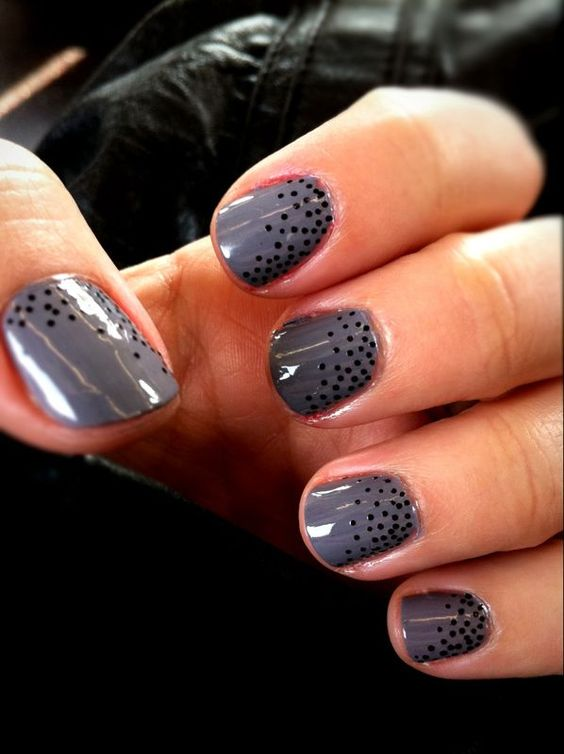 grey polka dot nails- using a toothpick dip the tip of the toothpick in black nail polish and dap it on to your nails. When they're dry you can then paint a clear top coat on them for some extra shine.