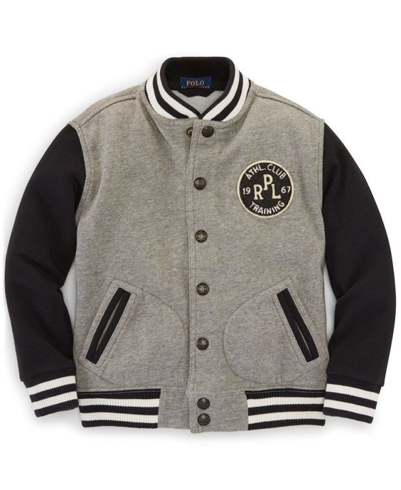 Ralph Lauren Little Boys&39 Weathered Fleece Baseball Jacket