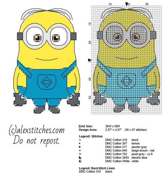 The Minion Dave from Despicable Me cartoon movie cross stitch pattern small size with backstitch use 36 x 57