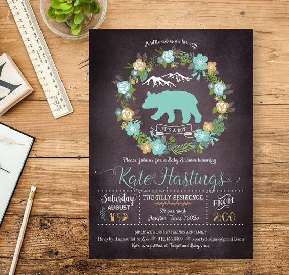 Planning a BABY SHOWER? This Chalk Rustic Baby Bear Baby Shower Party Invitation is perfect for a boy baby shower. This Printable Baby Shower