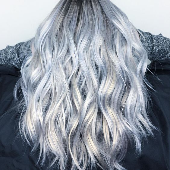 133 Likes 5 Comments Balayage Specialist Hairbyjazzmine On Instagram Another View Of This Gorgeou Blue Hair Balayage Silver Hair Color Silver Blue Hair