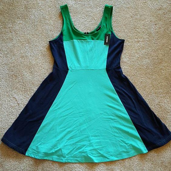 Express Color Block Dress Short color block dress. Never been worn, still has tags! Short zipper in back. Offers welcome! Express Dresses