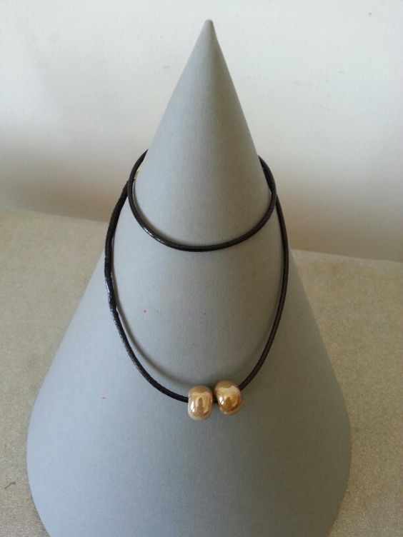 Necklace with snake leather chain
