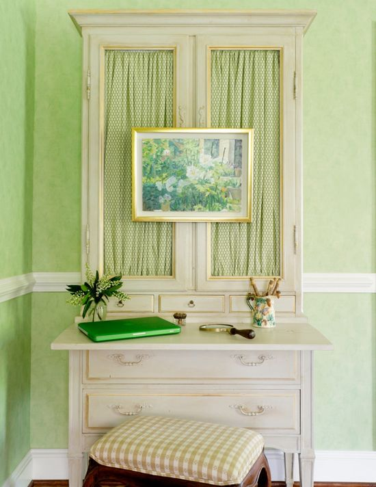 I could do this!  I would love to have fabric in my sideboard windows rather than glass.  Or maybe bamboo??