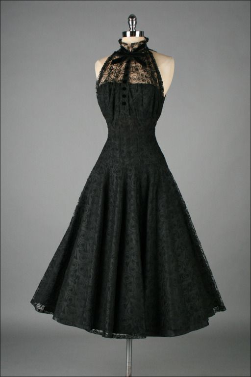 Vintage 1950&-39-s Paul Sachs Black Tuxedo Lace Cocktail Dress ...