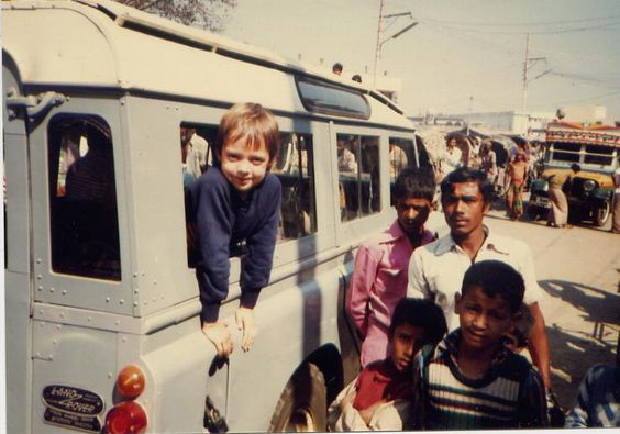 Young Marcus Wainwright hanging out of a Land Rover in India. via rag & bone, guest pinner for Land Rover USA