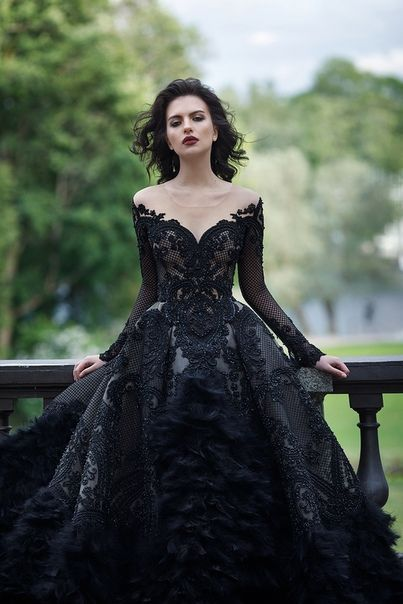 Unique Vintage Black Lave Deep V Neck Lace Wedding Dress Fall Or Winter Wedding Ideas Beautiful Dresses Black Wedding Gowns Gowns