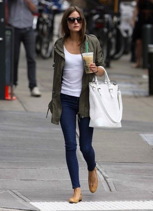 army style jacket white tee denim white handbag street style olivia palermo spring style