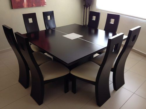 Juego de comedor de 8 sillas cuadrado y modernos juego for Mesas de comedor grandes de madera