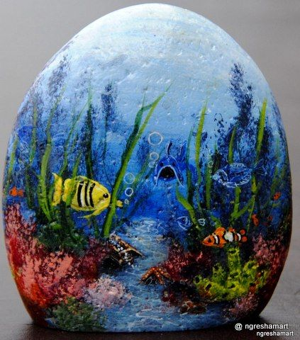 Fish paintings fish art and rock art on pinterest for Fish tank paint