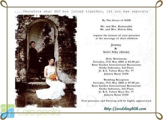 Contoh Surat Undangan Syukuran Pernikahan Atau Resepsi Resmi Pernikahan Kristen Resepsi Pernikahan