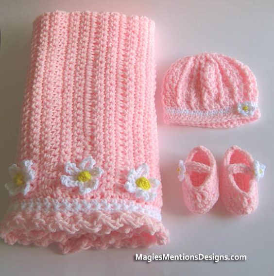 Crochet Baby Blanket Set with Hat and Baby Booties Slippers Perfect for Stroller - Travel or Car Seat Handmade Crocheted, $48.00