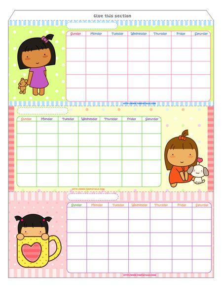 #printable #free #cute #pigtails #planner #calendar