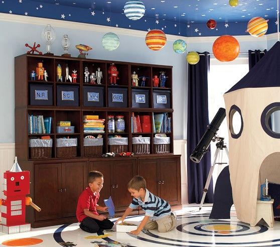 Planets pottery barn kids and planet kids on pinterest - Hanging planets decorations ...