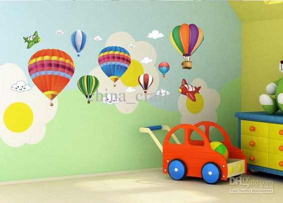 Best Removable Hot Air Balloon Wall Stickers Airplane Wall Decor Cartoon Wall Stickers Nursery Wall Decals Online with $4.08/Piece | DHgate