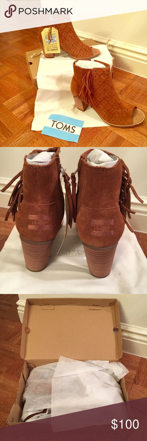 TOMS Suede Perforated Bootie with Fringe Brand new! Never worn! TOMS Peep Toe Perforated Bootie with Fringe Detail on side. Awesome cinnamon color. Perfect for fall! On trend with boho accents! Shipped in original packaging with TOMS dust bag.  🚭 Comes from a smoke & pet free home! 🚫 No trades, reasonable offers only please 🤗 TOMS Shoes Ankle Boots & Booties