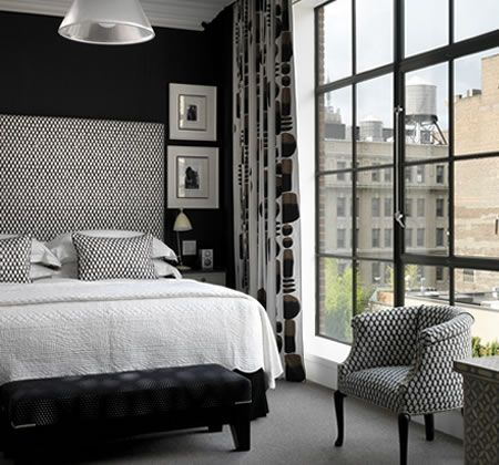 black and white with grey effect | Hotel Room designed by Kit Kemp