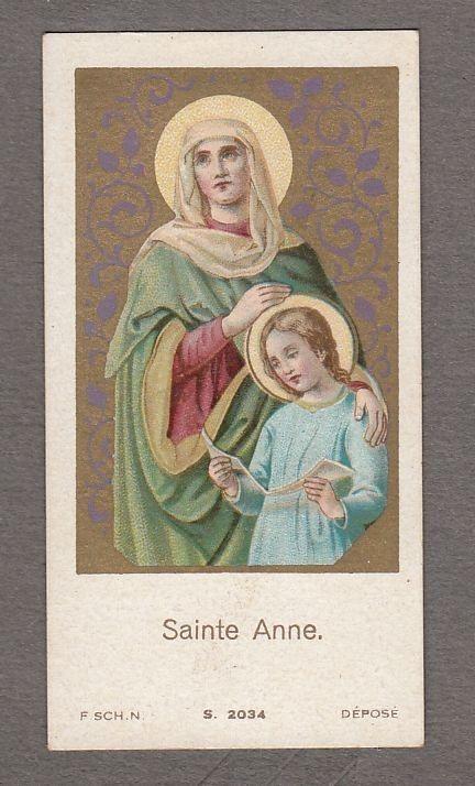 SAINT ANNE ANNA antique small holy card