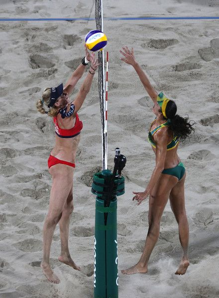 Talita Rocha of Brazil and Kerri Walsh Jennings of the United States attempt to play a shot during the Beach Volleyball Women's Bronze medal match between Brazil and the United States on day 12 of the Rio 2016 Olympic Games at the Beach Volleyball Arena on August 17, 2016 in Rio de Janeiro, Brazil.