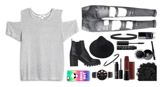 """""""Grunge w/ a pop"""" by emolialarson234 ❤ liked on Polyvore featuring LnA, Barneys New York, Casetify, Humble Chic, Urban Decay, Chanel, NARS Cosmetics and Carbon & Hyde"""
