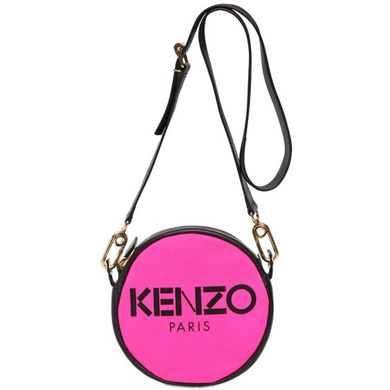 KENZO Two Tone Canvas & Leather Shoulder Bag ($134) ❤ liked on Polyvore featuring bags, handbags, shoulder bags, bolsas, shoulder bag purse, leather purse, genuine leather purse, white purse and genuine leather handbags