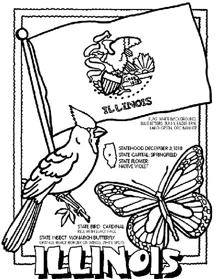 illinois state symbols coloring pages - photo#3