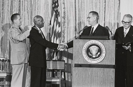 President Lyndon B. Johnson presents the Medal of Freedom ...