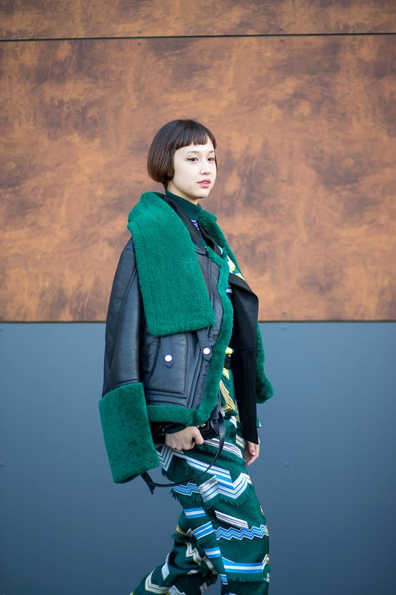 Color in different fabrications. street style - In Kenzo - HarpersBAZAAR.com: