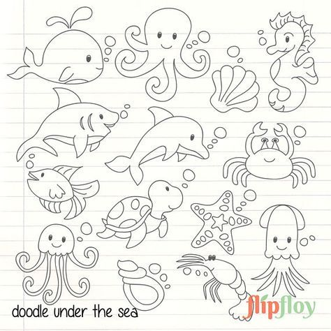 Doodle Cute Under The Sea Animal Instant Download 14 Silhoute Sea Icon Clipart Vector Set Digi Sea Animals Drawings Under The Sea Animals Animal Doodles