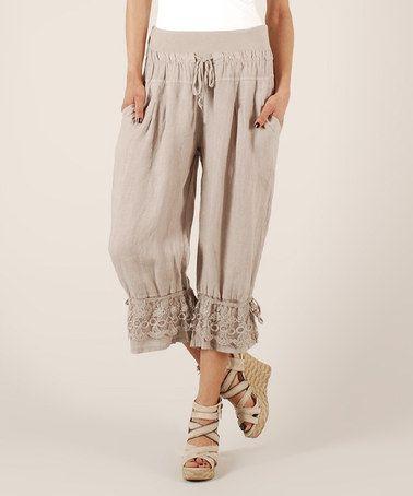 LIN nature Beige Tie-Waist & Hem Linen Capri Pants | Capri Pants ...