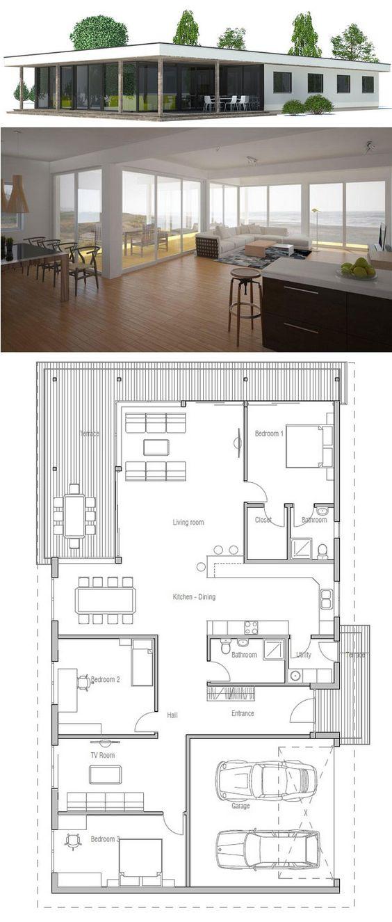 plan de petite maison = à réagencer : cuisine à la place de la chambre parentale, transformer la salle TV en chambre, supprimer la sdb parents et en prévoir une principale + grande