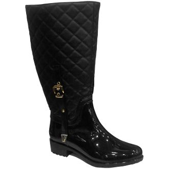 Cute quilted black patent rain boots you can comfortably wear on a ...
