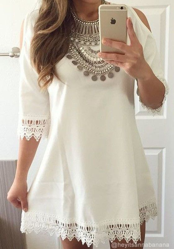 White Plain Lace V-Back Neck 3/4 Sleeve Dress: