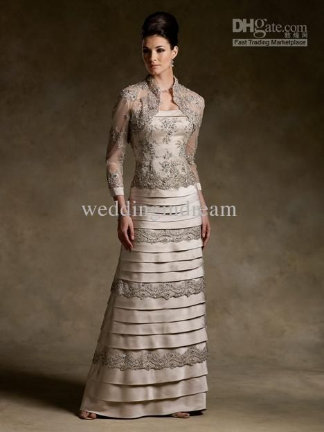 Best Selling Column Lace Long Sleeves Mother Of The Bride Dress ...