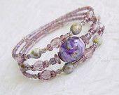 Lampwork Wrap Bracelet, Violet bracelet, Bohemian bracelet, Memory wire bracelet, Romantic, Purple bracelet, Glass bead bracelet, Handmade