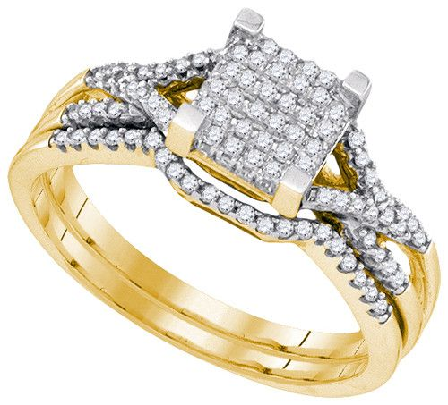 10K Yellow Gold 0.33 Ctw Diamond Micro Pave Bridal Ring 2.31g