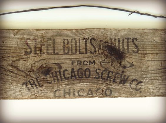 Vintage Reclaimed Wood Chicago Screw by ModernArtifactDecor, $65.00 - Chicago, Reclaimed Wood Chicago And Wood Chicago On Pinterest