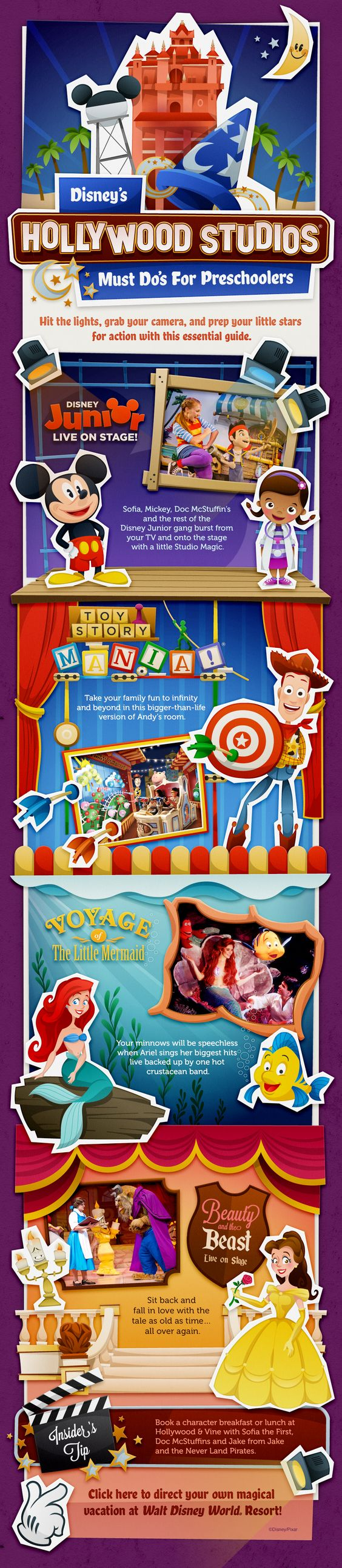 Disney's Hollywood Studios Must Do's for Preschoolers (or select another age group)! Disney Junior, Mickey Mouse Club, Doc McStuffins, Sofia the First, Toy Story Mania, Voyage of the Little Mermaid, Beauty and the Beast Live on Stage!