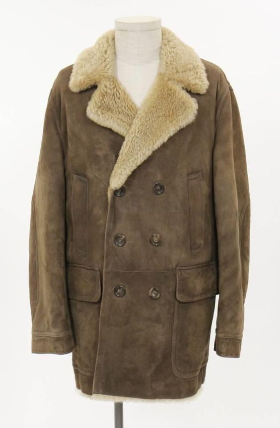 Gucci Jacket (Men's Pre-owned Brown Lambswool & Leather Shearling Coat)