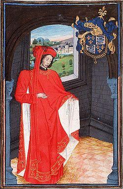 Charles d'Orléans, en habit de chevalier de la Toison d'or. - Charles 1° d'Orléans, poéte français (Hotel-St-Pol, Paris 1891- Amboise 1465). Neveu de Charles VI, il est fait prisonnier par les Anglais à la bataille d'Azincourt, le 25 octobre 1415 et passe un quart de siècle de captivité en Angleterre. Il en rapportera de nombreuses Chansons, certaines de ses Ballades et surtout le Livre de la prison.