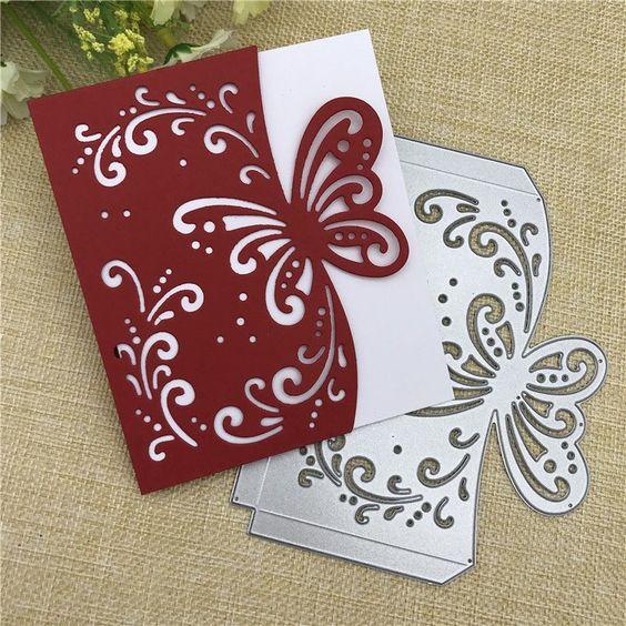 Metall Schmetterling Geschenk Box Stanzformen Schablonen Scrapbooking Karte