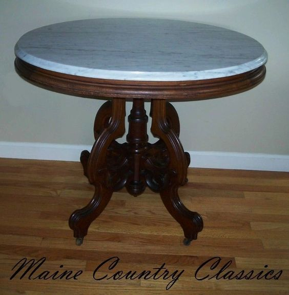 Beautiful Antique VICTORIAN OVAL MARBLE TOP PARLOR TABLE Walnut | Marble Top, Parlour  And Marbles