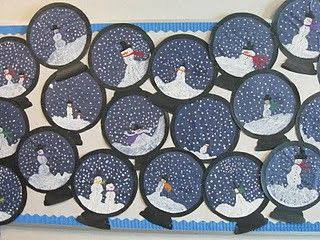 A winter-themed bulletin board idea featuring snowmen inside snow globes. Students decorate their own snow globe to be displayed for the class.