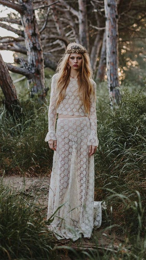 Two piece long sleeve bohemian wedding gown