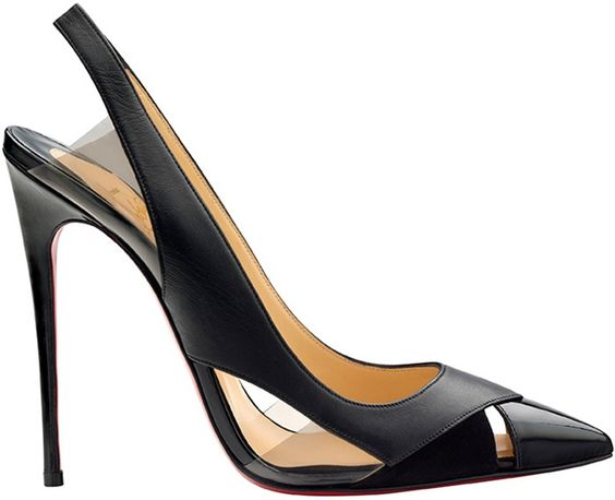 Classic black slingback stiletto with leather, suede, and clear PVC by Christian Louboutin.: