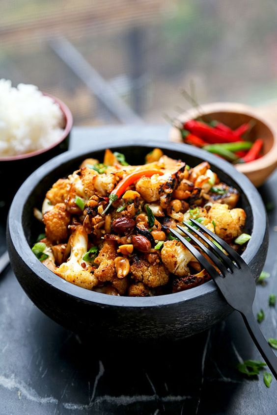 Kung Pao Cauliflower - A delicious alternative to classic Kung Pao Chicken, Kung Pao Cauliflower is just as smoky and satisfying but lower in calories and fat! Recipe, Chinese food, take out, healthy, cauliflower, vegetarian, Asian | pickledplum.com: