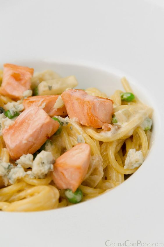 Pasta  - espaguetis con salmon - Receta sin gluten
