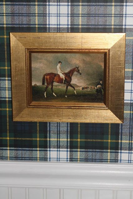 The Polohouse:  Ralph Lauren plaid wallpaper in the bathroom with an equestrian painting